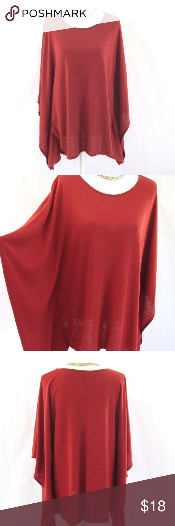 ABG Tunic Poncho Style Top Solid, Dolman/ Batwing Sleeve, Tunic Poncho Style Top  Round Neckline Knit Jersey polyester material Deep Burnt Orange Color Very Gently worn a few times (a little bit of light fuzziness in front (see pic); no damage Size L- but has a loose fit design and looks great on Sizes 12/14/16 and falls below hips ABG Tops Tunics
