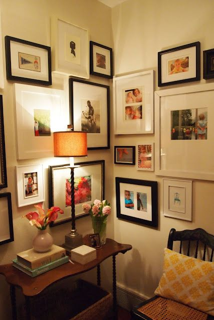 the little black door: combination of black and white frames with colored photos