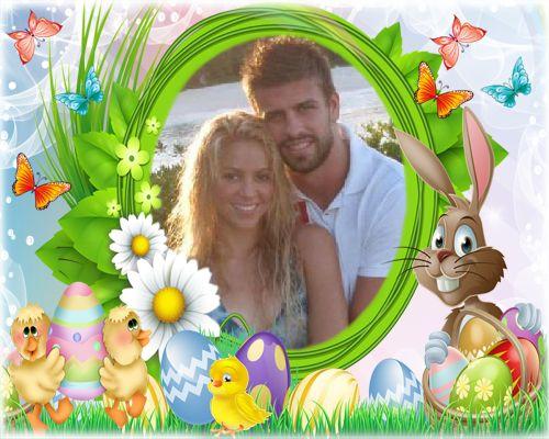 Fotomontaje para la pascua con conejo y huevos ideal para niños y familias