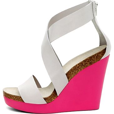 White and pink neon platform shoes