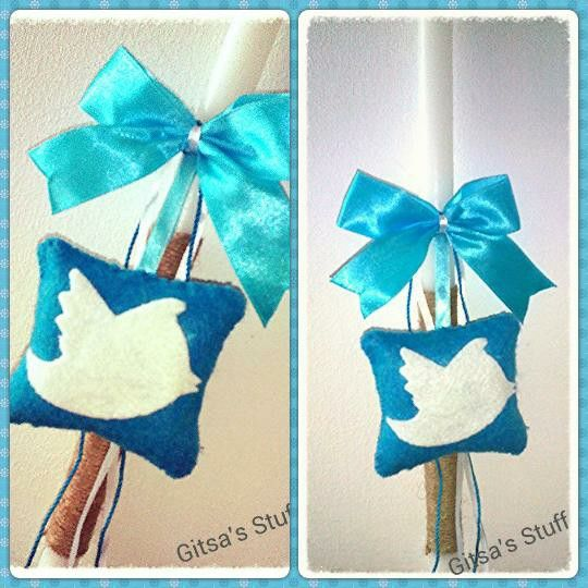 Easter Candle.. Handmade.. Twitter.. Blue..
