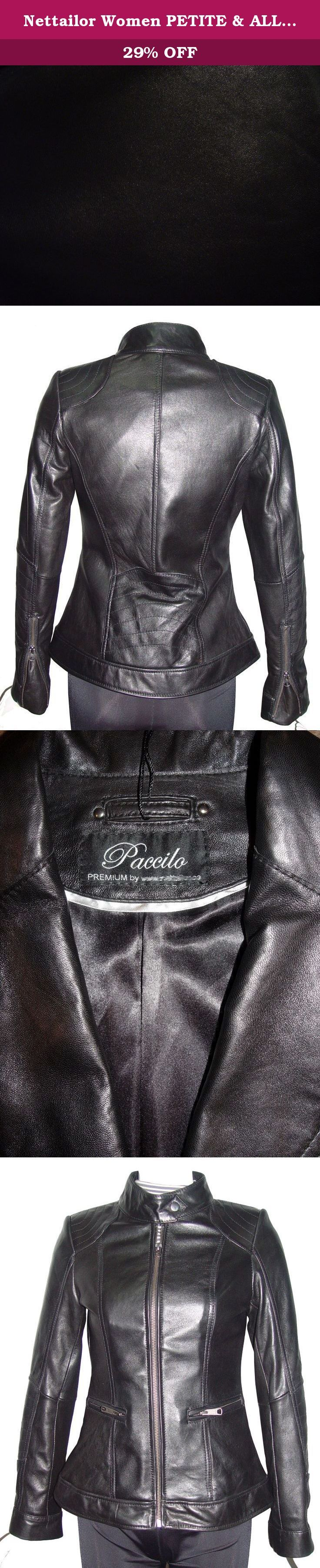 """Nettailor Women PETITE & ALL SIZE Fashion 4156 Leather Motorcycle Jacket. Lambskin, Stand Up Collar, Zip Front, No Insulation. Not all leather is the same. When vendors say or state, """"leather or genuine leather"""", they generally use """"pig skin"""", which is the worst quality of leather and therefore inexpensive. If you choose to buy """"leather or genuine leather"""" only because of its cheap price, you will mostly end up buying """"pig skin"""" leather ($50-$150 price range). Lambskin, pigskin and…"""