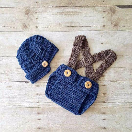 Crochet Baby Newsboy Visor Beanie Hat Diaper Cover Bloomers Overalls Set Basket Weave Newborn Infant Photography Photo Prop Handmade Gift