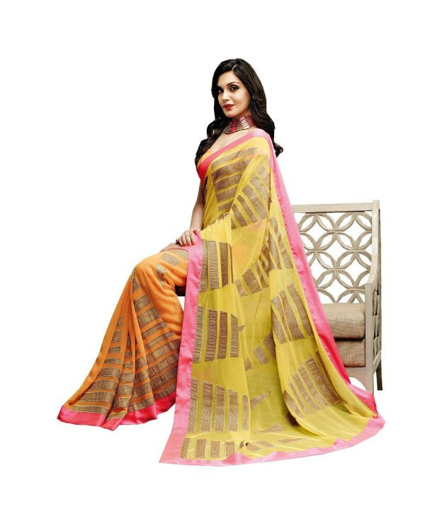 To Buy  Yellow Lace Work Saree please click Below:- http://www.ethnicstation.com/yellow-lace-work-saree-vl1775   #DiscountSale