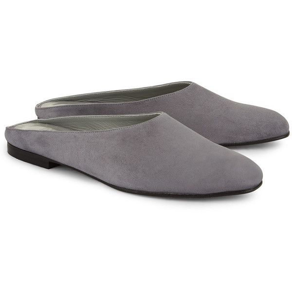 Maryam Nassir Zadeh Stone Suede Maryam Mule Flats (30.260 RUB) ❤ liked on Polyvore featuring shoes, flats, gray flat shoes, square-toe ballet flats, grey flats, flat shoes and mule flats