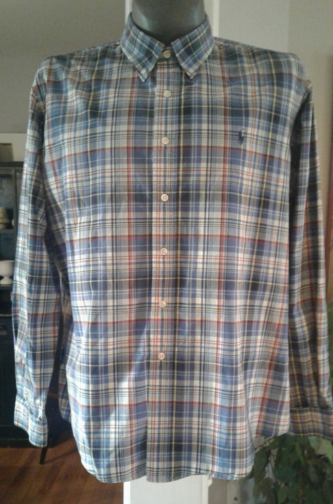 Ralph Lauren Classic Fit Men's Blue Plaid w/Blue Pony LS Dress Shirt XXL Oxford | eBay
