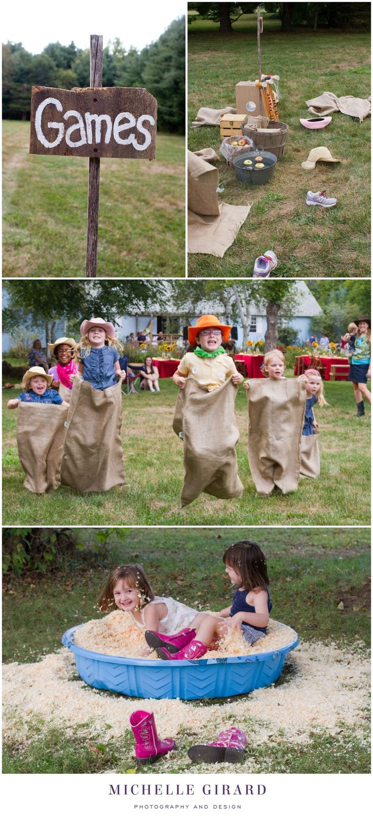 """Children's Country Hoedown Themed Birthday Party :: Wooden sign for the """"Games"""" area with bobbing for apples, races in burlap sacks, croquet, and prizes to be found in a tub of soft wood chips :: Michelle Girard Photography"""