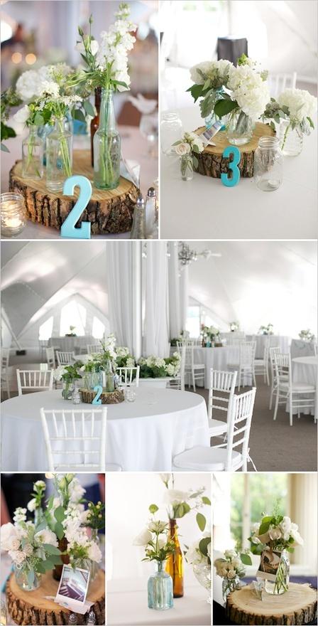center pieceWood Block, Wedding Ideas, Old Jars, Tables Numbers, Mason Jars, Trees Stumps, Wedding Centerpieces, Flower, Center Pieces