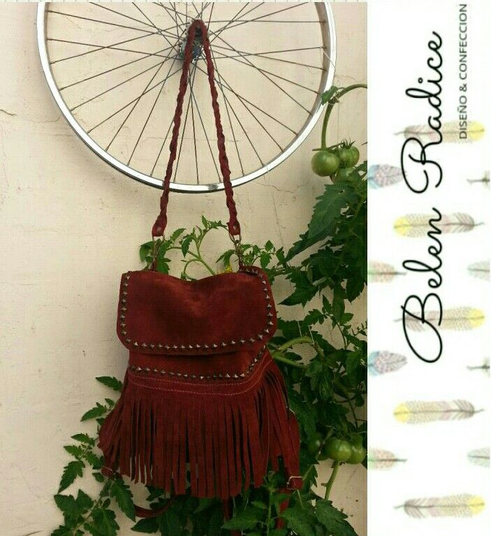 Bolso/mochila, de cuero gamuzado