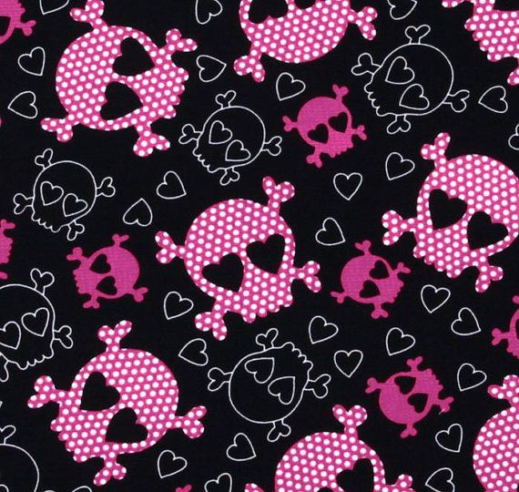PInk skull fabric with heart eyes from Timeless Treasures -3/4 yard- great for Halloween costumes