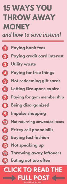 Stop throwing away money. Wasting money. Save money. Better spending habits.