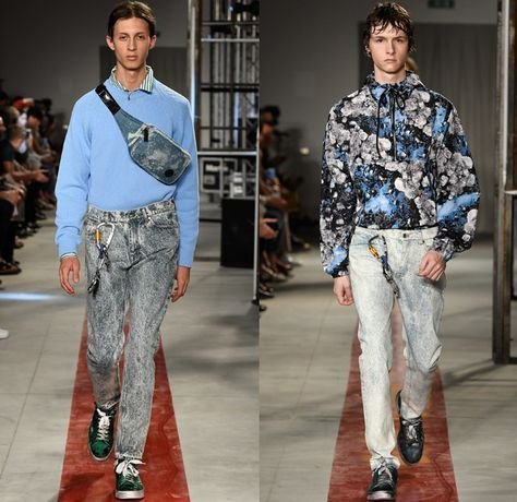 MSGM by Massimo Giorgetti 2017 Spring Summer Mens Runway Catwalk Looks - Milano Moda Uomo Collezione Milan Fashion Week Italy - Stonewashed Denim Jeans Hyper-Colored  Trees Roses Flowers Floral Print Motif Poplin Shirt Outerwear Coat Parka Anorak Bomber Jacket Layers Stripes Trackpants Shorts Socks With Sandals Carabiner Sneakers Fanny Pack Waist Pouch Belt Bag Clouds Lanyard Purse Clutch Hoodie Rainwear Flames Crop Top Knit Check Argyle