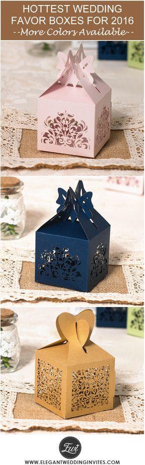 "2016 trending elegant laser cut wedding favor boxes with popular colors @elegantwinvites --Use CODE ""PRO"" to Enjoy 15% OFF"