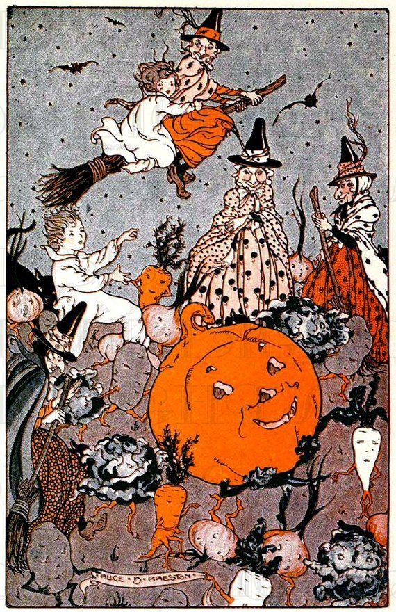 VINTAGE Halloween Digital Download. VEGGIES Dancing! Jack O' Lantern. Vintage Witches Illustration. Printable Halloween Image