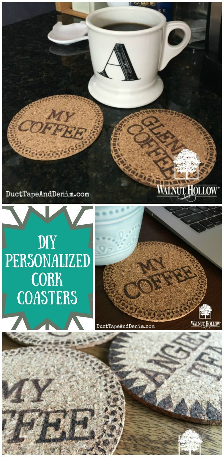 DIY Personalized Cork Coasters using a wood
