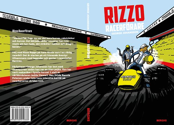 Illustration and cover design.  Kids book in Sweden. About Rizzo who is a kid and dream of becoming a race driver.