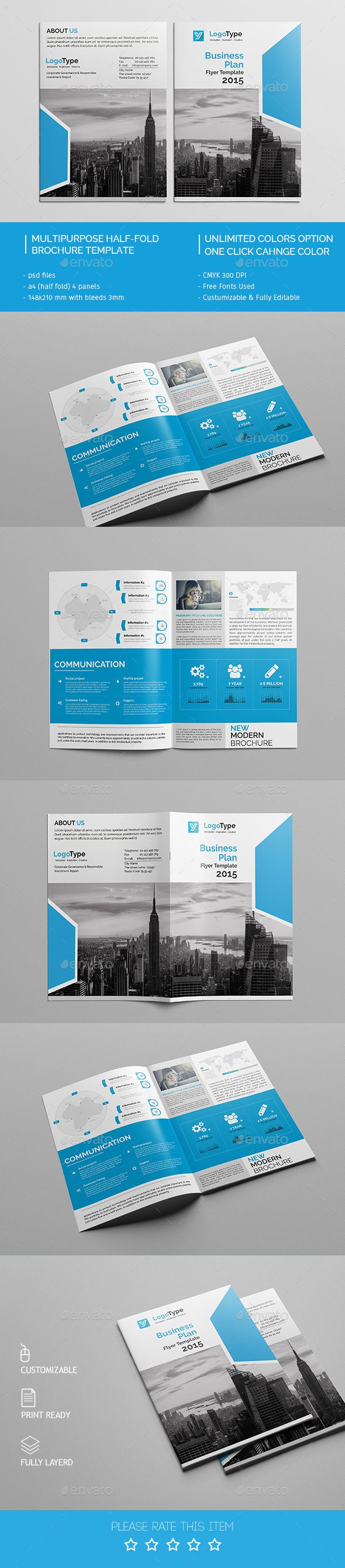 Corporate bi fold brochure template 07 design brochures for Bi fold brochure template indesign free