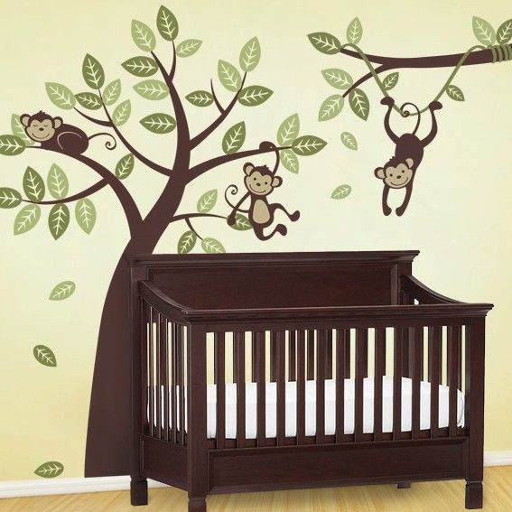 Is it bad I want this for my own bedroom??!   Tree and Branch Vine with Monkeys - Kids Vinyl Wall Sticker Decal Set. $125.00, via Etsy.