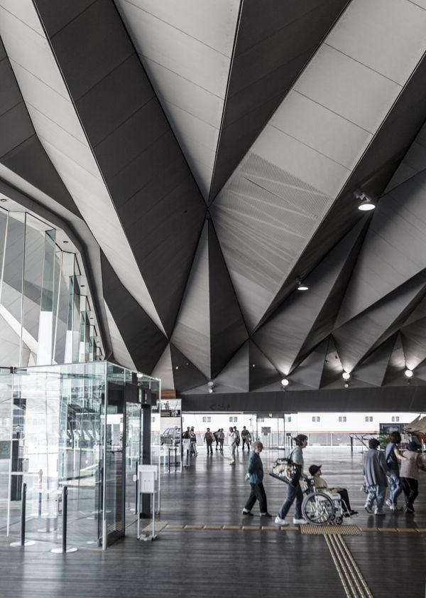 Interior of Yokohama International Port Terminal by Farshid Moussavi and Alejandro Zaera-Polo.