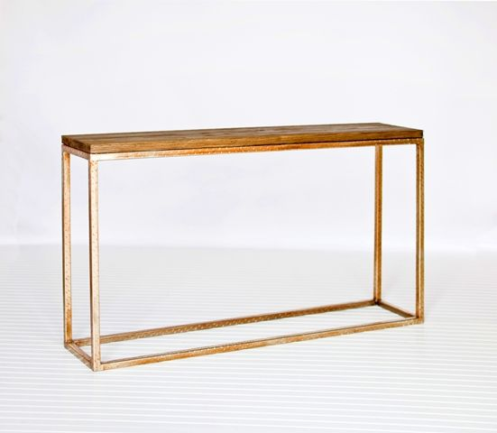 Plankton Wood And Gold Leaf Console Table, Worlds Away