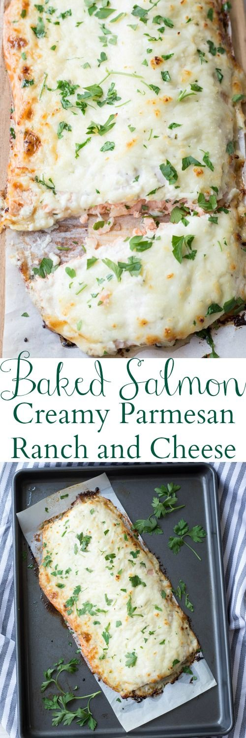Baked Salmon with Ranch & Cheese ----- 2 pounds salmon,  2 Tbsp Ranch dressing mix,  2/3 cup Hellman's mayonnaise,  2 Tbsp grated Parmesan cheese, 1 ½ Tbsp milk, 2 garlic cloves minced, Dash of pepper, 1/2 – 3/4 cup mozzarella cheese --- Mix all ingredients but the salmon and cheese. Place salmon on parchment, put mixed sauce over, then the cheese and bake for 12-14 mins at 425F.