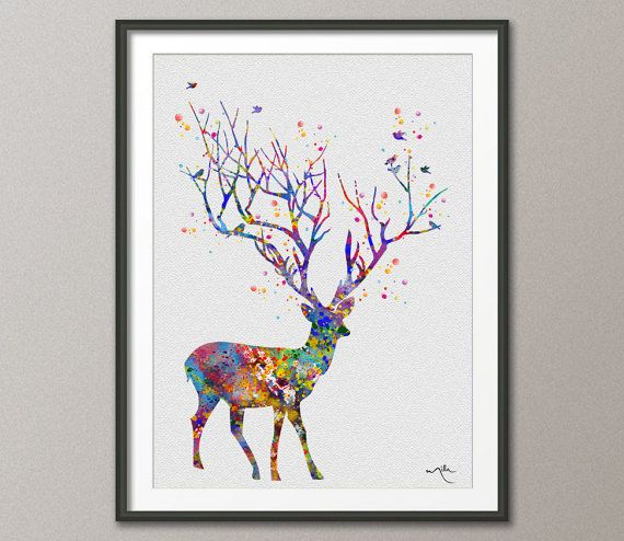 Deer Tree Horn Watercolor Painting Print illustrations Art Print Wall Wedding Gift Poster Wall Decor Nursery Home Decor Wall Hanging [NO 55]