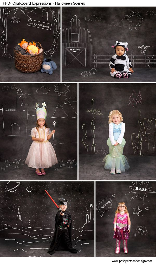 Chalkboard Expressions: Halloween Scenes  - Photoshop Template Overlays and Brushes