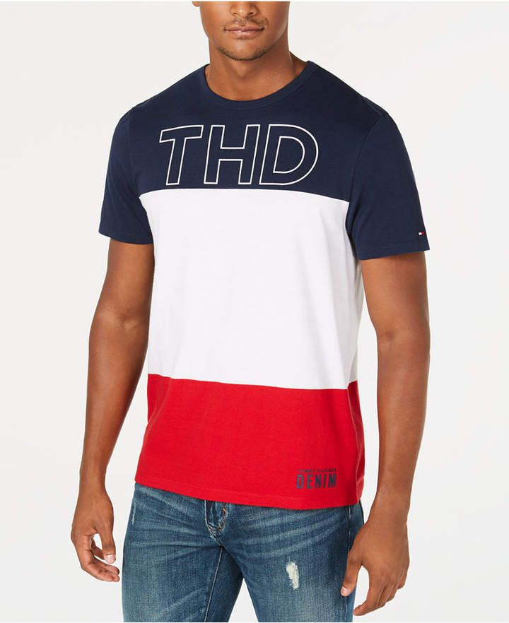 Tommy Hilfiger Men S Granby Colorblocked Logo Graphic T Shirt Created For Macy S Mens Tee Shirts Mens Tshirts Mens Shirts