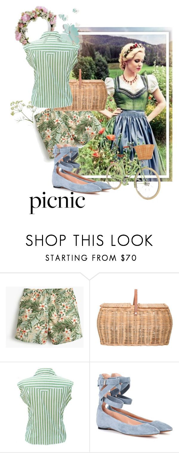 """""""Picnic"""" by the-house-of-kasin ❤ liked on Polyvore featuring amana, J.Crew, Bloomingville, Valentino, stripes, floralprint, MixandMatch, tropicalprints and mixedpatterns"""