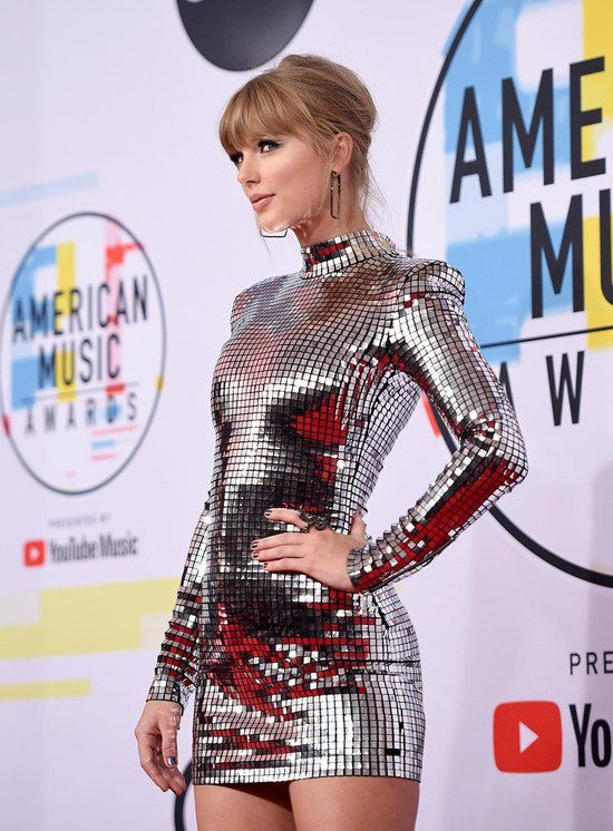 Taylor Swift Wearing High Neck Silver Mini Dress By