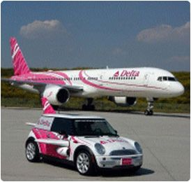Delta Airlines Flying Pink for Breast Cancer - Airplane and Mini-Cooper.
