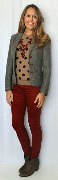 Love the maroon pants with the old navy sweater