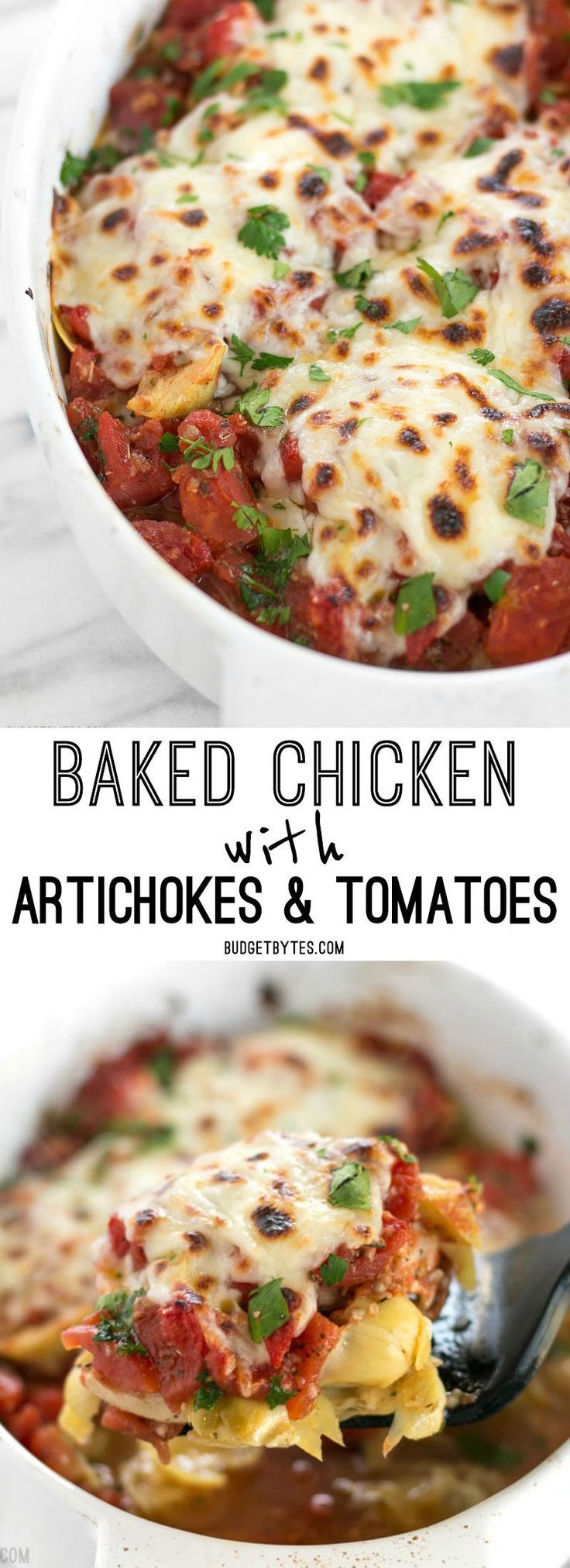 Baked Chicken with Artichokes and Tomatoes is an easy last minute dinner you can make with pantry staples.