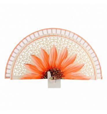 Abanico madera calada blanca flor naranja