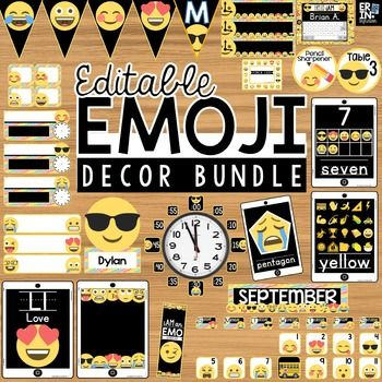 Emoji Classroom Decor Bundle.  613 pages of editable Emoji themed classroom decor. Save 50% off buying individual packs. This bundle includes 16 total sets of Emoji classroom decor with 10 Editable sets included for Adobe and/or PowerPoint when appropriate.