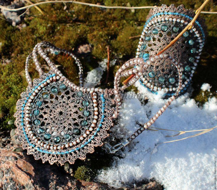 Купить Комплект украшений Покахонтес - коричневый, медный, омедненное кружево, необычное украшение, медное кружево