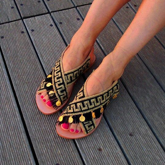 "Because Greek is chic ➡ Our Greek key sandals ""Kassandra"""