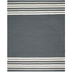 Dhurries Dark Grey 8 Feet X 10 Feet Area Rug