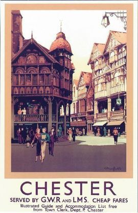 Vintage GWR LMS Chester Railway Poster A3 Print