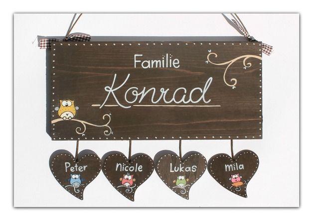 Tür- & Namensschilder - Shabby Türschild Eulenfamilie Namensschild - ein Designerstück von byAnnoDomini bei DaWanda