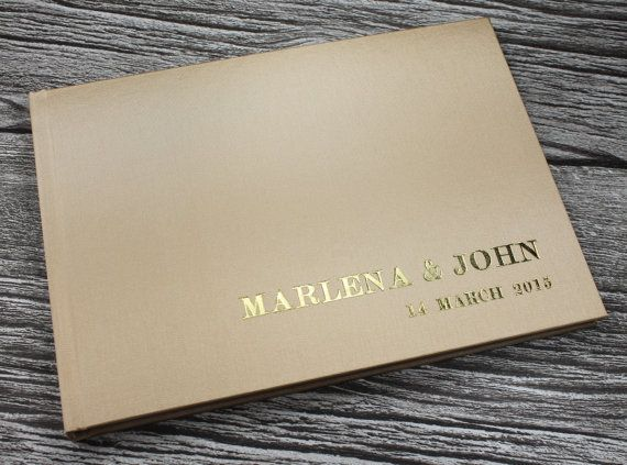 Personalised gold satin guest book  fully by AllsoppBookbinders