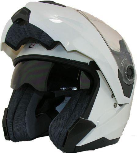 MOTORCYCLE Modular Flip up Front Helmet DOUBLE Visor Motorbike Closed Face WHITE - SMALL 55-56cm: Amazon.co.uk: Car & Motorbike  £39.95