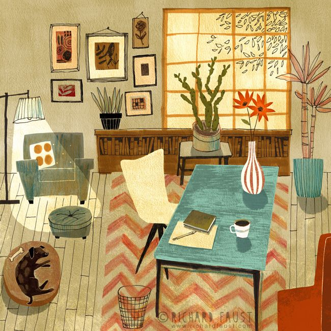 ©Richard Faust - 'My Studio' www.richardfaust.com • interior illustration