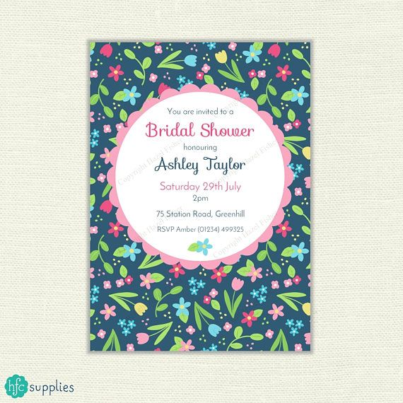 Spring Flowers Bridal Shower Invitation - pretty flower design on navy blue background. Printable birthday party, digital invite. Print service also available. #printableinvitation #bridalshower #bridalshowerstationery #invitations
