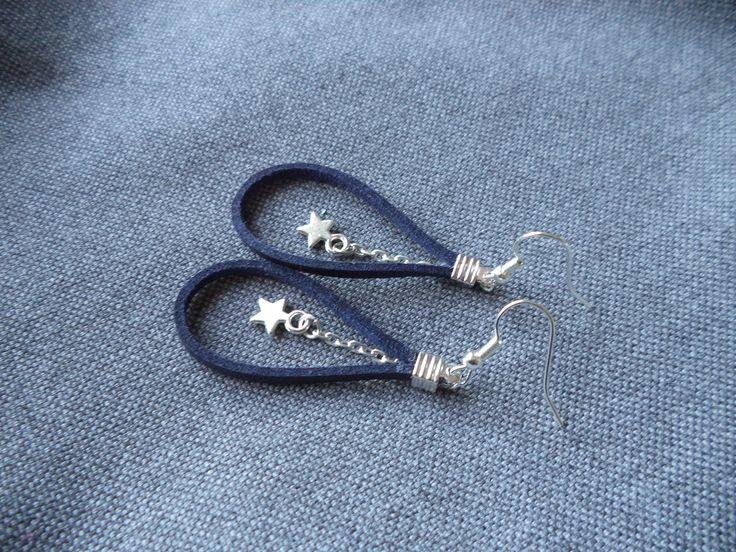 Boucles d'oreilles argent en suédine cuir bleue et étoile : Boucles d'oreille par plumecreative