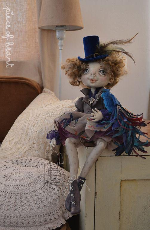 Купить синяя птица - синий, синяя птица, счастье, клетка, текстильная кукла, шарнирная кукла