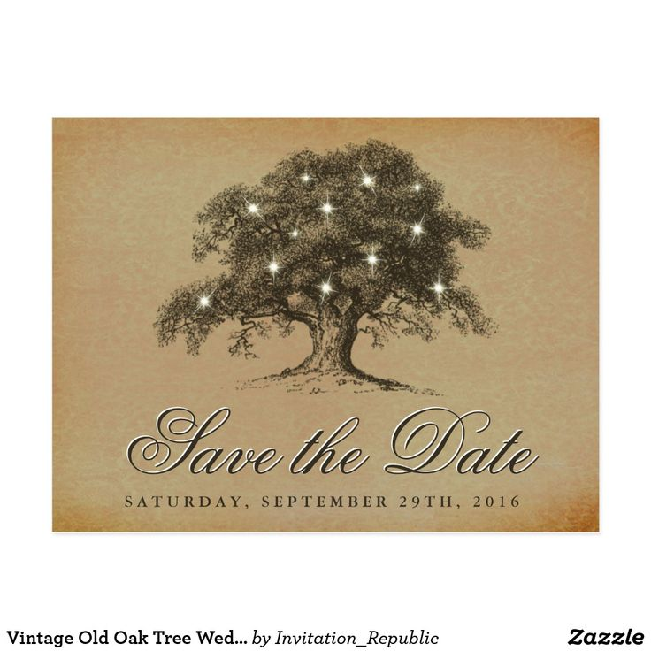 "Vintage Old Oak Tree Wedding Save The Date Postcard These vintage old oak tree wedding save the date postcards are perfect for any couple planning a romantic antique themed marriage. The design features a vintage old oak tree with glowing white lights and is finished with a vintage style background. Easily personalize this save the date postcard template by adding your custom wording to the template boxes provided, or click the ""Customize it"" button for more advance settings."