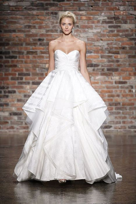 White on white striped bridal gown from Hayley Paige
