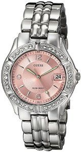"""GUESS Women's G75791M """"Dazzling Sporty"""" Mid-Size Silver-Tone   watches.reviewatoz.com"""