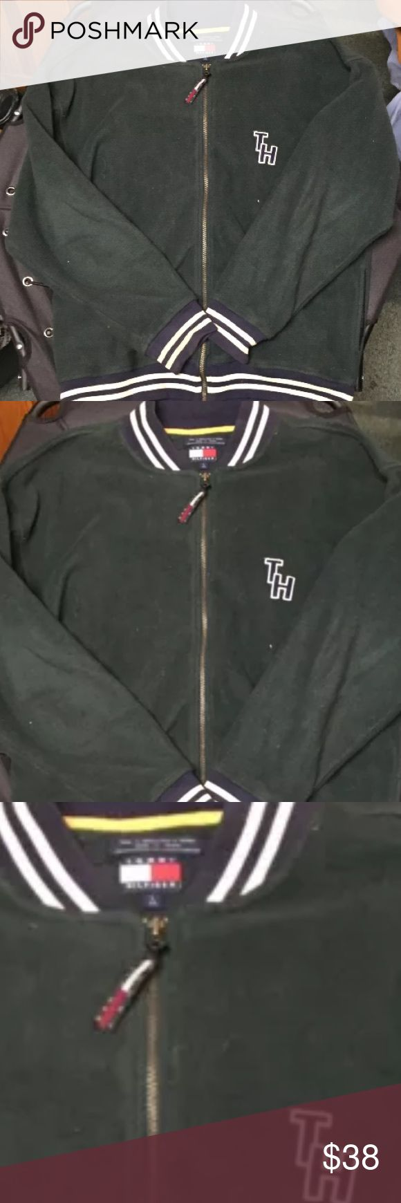 Tommy Hilfiger Fleece Bomber Jacket Late 1990's Tommy Hilfiger Fleece Bomber Jacket Late 1990's. Street style, hunter green and navy detail. Two pockets. Banded cuffs and bottom Vintage Jackets & Coats Bomber & Varsity